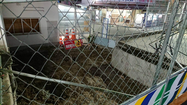 山陽電車尾上の松駅、バリアフリー工事中
